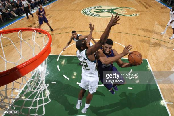 Alan Williams of the Phoenix Suns shoots the ball against the Milwaukee Bucks on February 26 2017 at the BMO Harris Bradley Center in Milwaukee...