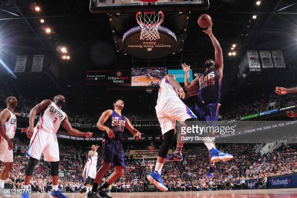 Alan Williams of the Phoenix Suns shoots the ball during the game against the Los Angeles Clippers on March 30 2017 at US Airways Center in Phoenix...