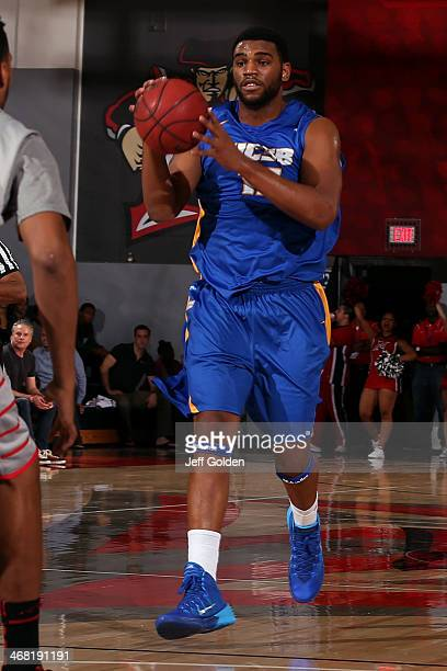 Alan Williams of the UC Santa Barbara Gauchos drives while airborne against the Cal State Northridge Matadors in the second half of the game at The...