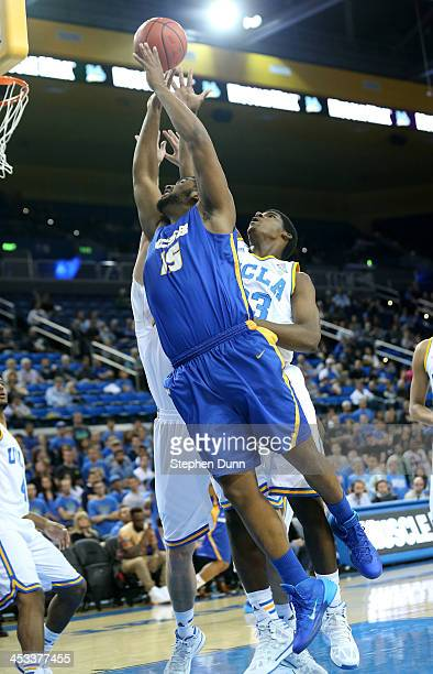 Alan Williams of the UCSB Gauchos shoots against the UCLA Bruins at Pauley Pavilion on December 3 2013 in Los Angeles California
