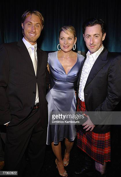 Alan Wyse with actors Kim Cattrall and Alan Cumming during the Conde Nast Traveler celebration of 20 years of Truth in Travel at Cooper Hewitt...