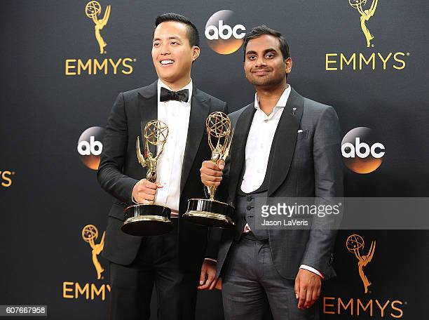 Alan Yang and Aziz Ansari pose in the press room at the 68th annual Primetime Emmy Awards at Microsoft Theater on September 18, 2016 in Los Angeles,...