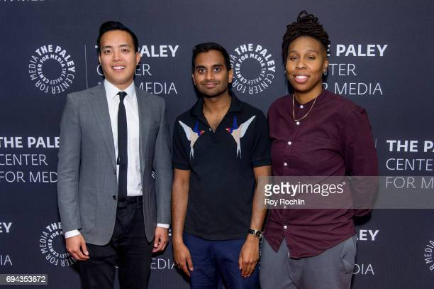 Alan Yang Aziz Ansari and Lena Waithe attend The Paley Center For Media presents Master of None a conversation with Aziz Ansari and Alan Yang at The...