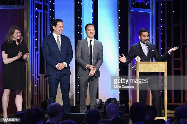 Alan Yang, Aziz Ansari, and members of Master of None speak onstage during The 75th Annual Peabody Awards Ceremony at Cipriani Wall Street on May 21,...