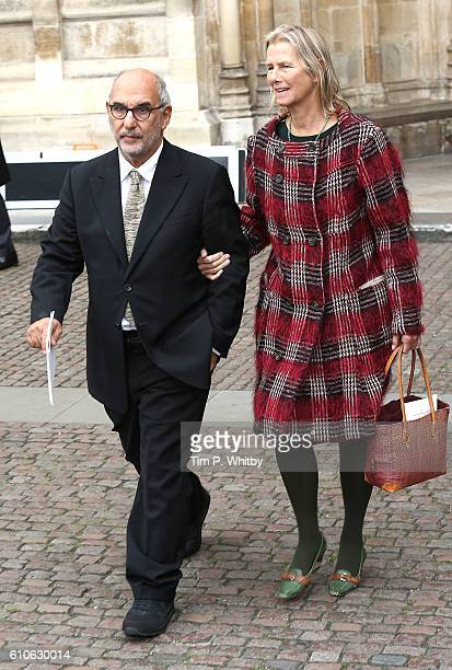Alan Yentob and Phillipa Walker depart after attending a memorial service for the late Sir Terry Wogan at Westminster Abbey on September 27 2016 in...