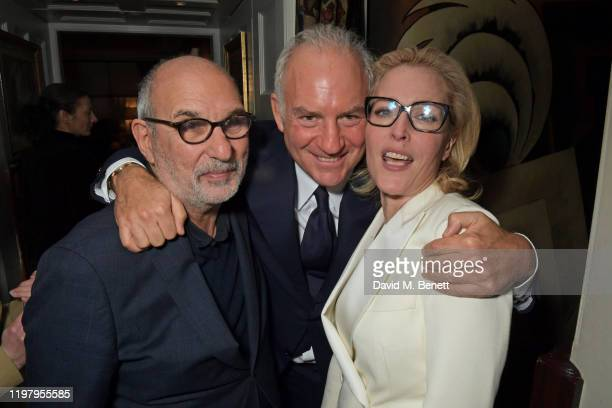 Alan Yentob Charles Finch and Gillian Anderson attend the Charles Finch CHANEL PreBAFTA Party at 5 Hertford Street on February 1 2020 in London...