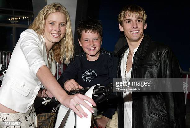 Alana Austin Josh Hutcherson and Aaron Carter during Motocross Kids Premiere at Loew's Universal CityWalk in Universal City California United States