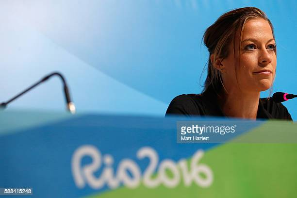 Alana Barber of New Zealand attends a press conference in the Main Press Center on Day 6 of the Rio 2016 Olympic Games on August 11 2016 in Rio de...