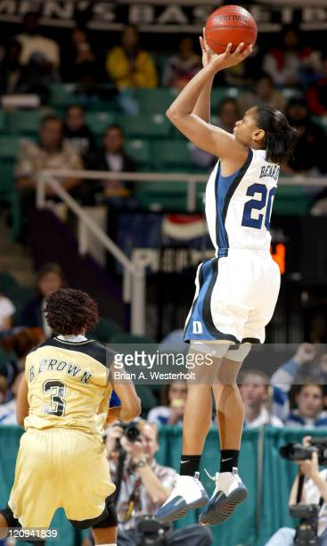Alana Beard launches a jump shot over Bianca Brown during the first half of Duke's 77-59 victory over Wake Forest at the ACC Women's Basketball...