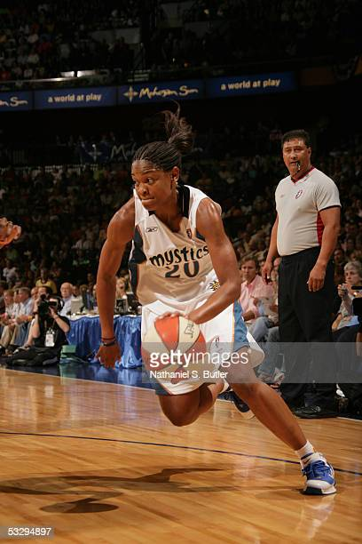 Alana Beard of the Eastern Conference AllStars drives against the Western Conference AllStars during the 2005 WNBA AllStar Game on July 9 2005 at...