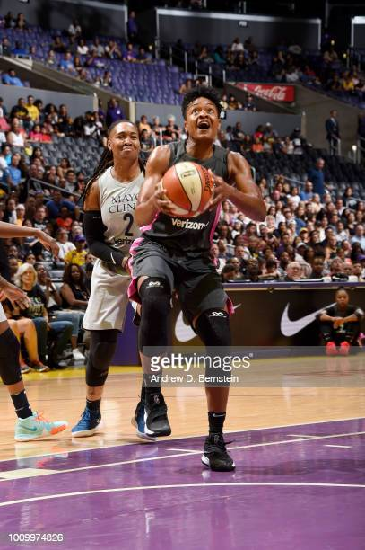 Alana Beard of the Los Angeles Sparks handles the ball against the Minnesota Lynx on August 2 2018 at STAPLES Center in Los Angeles California NOTE...