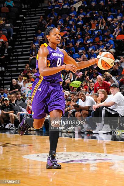 Alana Beard of the Los Angeles Sparks handles the ball against the San Antonio Silver Stars at ATT Center on June 28 2012 in San Antonio Texas NOTE...