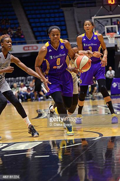 Alana Beard of the Los Angeles Sparks handles the ball against the San Antonio Stars on August 2 2015 at the Freeman Coliseum in San Antonio Texas...