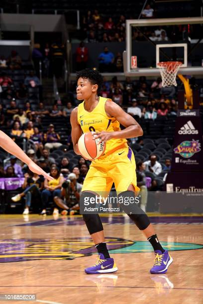 Alana Beard of the Los Angeles Sparks handles the ball during the game against the New York Liberty on August 14 2018 at Staples Center in Los...