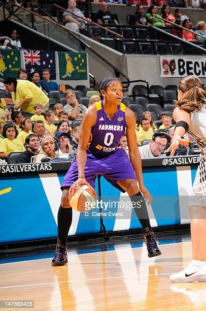 Alana Beard of the Los Angeles Sparks looks to move the ball against the San Antonio Silver Stars at ATT Center on June 28 2012 in San Antonio Texas...