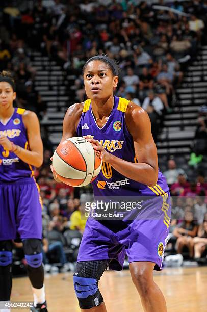 Alana Beard of the Los Angeles Sparks shoots a free throw against the San Antonio Stars at the ATT Center on August 10 2014 in San Antonio Texas NOTE...