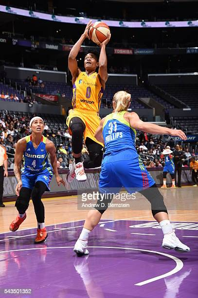 Alana Beard of the Los Angeles Sparks shoots against the Dallas Wings during game on June 28 2016 at STAPLES Center in Los Angeles California NOTE TO...