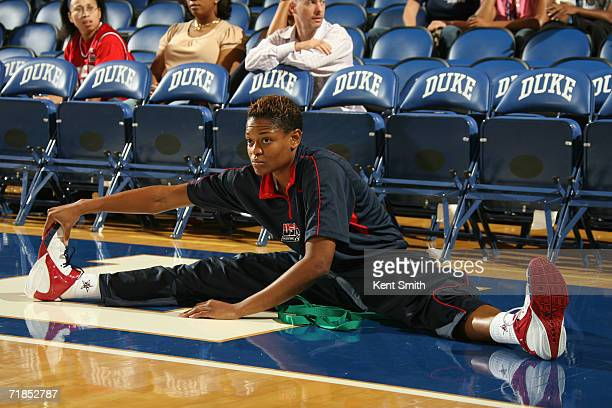 Alana Beard of the USA Basketball Women's World Championship Team stretches during warm ups prior to an exhibition game against the Australia Women's...