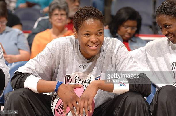 Alana Beard of the Washington Mystics is seen before a game against the Detroit Shock in a WNBA game on June 3 2006 at the Verizon Center in...