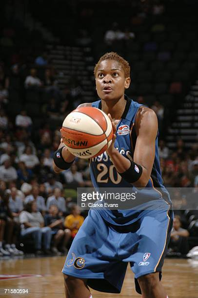 Alana Beard of the Washington Mystics prepares to shoot a free throw during a game against the San Antonio Silver Stars at ATT Center on July 21 2006...