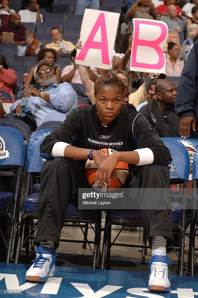 Alana Beard #20 of the Washington Mystics sits before the game against the Los Angeles Sparks on August 1, 2006 at the Verizon Center in Washington, DC.