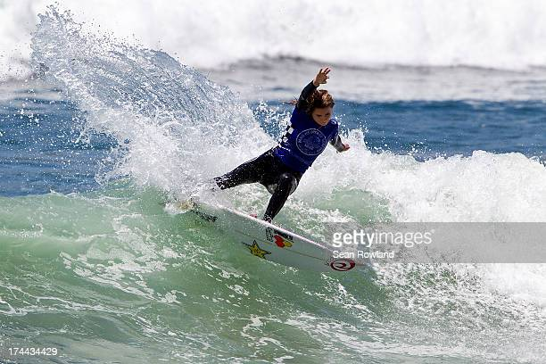 Alana Blanchard of Hawaii competes during the US Open of Surfing on July 25 2013 in Huntington Beach California