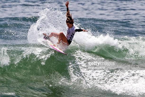 Alana Blanchard of Hawaii competes during the US Open of Surfing on July 26 2013 in Huntington Beach California