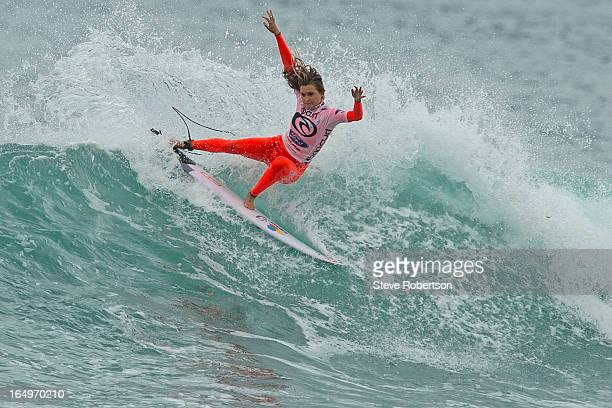 Alana Blanchard of Hawaii competes in round four of the Rip Curl Pro on March 30 2013 in Bells Beach Australia