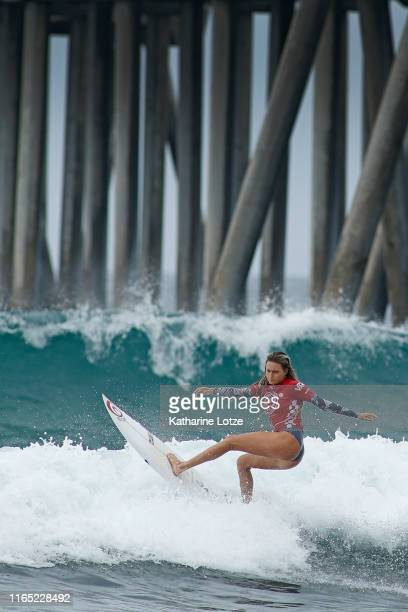 Alana Blanchard of Hawaii competes in the 2019 VANS US Open of Surfing at Huntington State Beach on July 30 2019 in Huntington Beach California