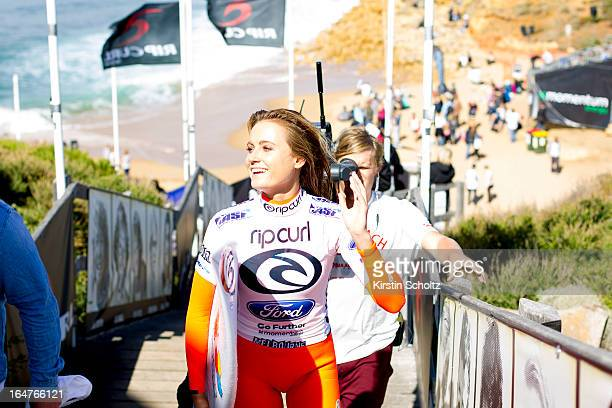 Alana Blanchard of Hawaii happy with her Round one victory as she walks up the stairs on March 28 2013 in Bells Beach Australia