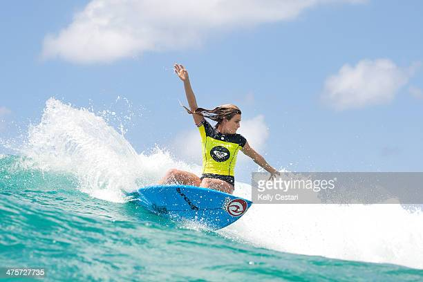 Alana Blanchard of Hawaii placed third in her Round 1 heat of the Roxy Pro Gold on March 1 2014 in Gold Coast Australia