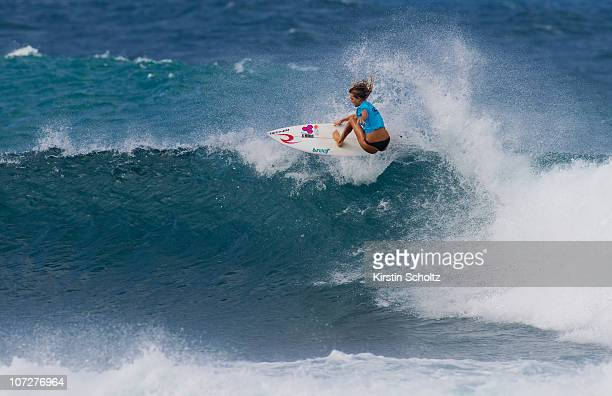 Alana Blanchard of Hawaii surfs during the Women's O'Neill World Cup of Surfing on December 2 2010 in Sunset Beach Hawaii