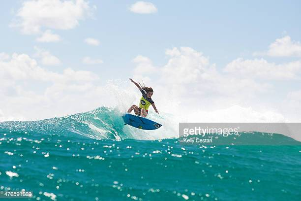 Alana Blanchard of Hawaii was eliminated from the Roxy Pro Gold Coast after placing second in Round 2 at Snapper Rocks on March 4 2014 in Gold Coast...