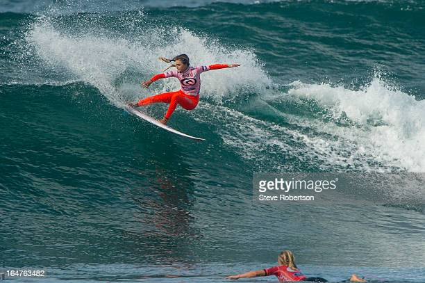 Alana Blanchard of Hawaii wins her opening round heat at the Rip Curl Pro in Australia at Bells Beach today on March 28 2013 in Bells Beach Australia