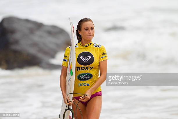 Alana Blanchard of the United States of America exits the surf during the Roxy Pro Gold Coast 2013 on March 4 2013 in Gold Coast Australia