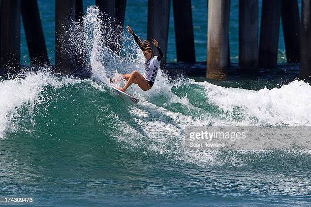 Alana Blanchard of USA competes during the US Open of Surfing on July 23 2013 in Huntington Beach California