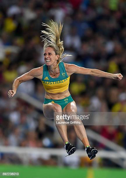 Alana Boyd of Australia reacts during the Women's Pole Vault Final on Day 14 of the Rio 2016 Olympic Games at the Olympic Stadium on August 19 2016...