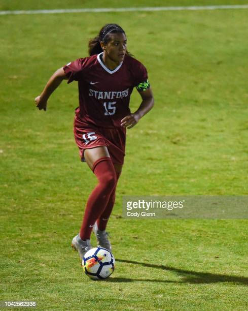 Alana Cook of Stanford University in action against University of Arizona at Laird Q Cagan Stadium on September 21 2018 in Stanford California