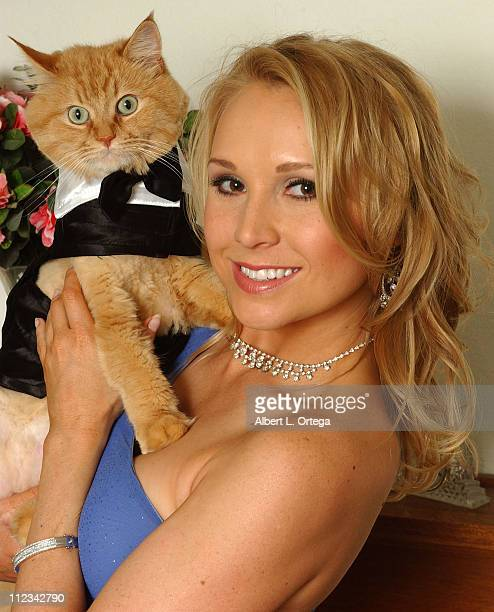 Alana Curry with her cat Razzie during Home Layout with Actress Alana Curry and Her Pets March 7 2007 at Private Residence in Toluca Lake CA United...