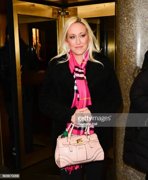 "Alana Evans is seen leaving ""NBC"" on January 16, 2018 in New York City."
