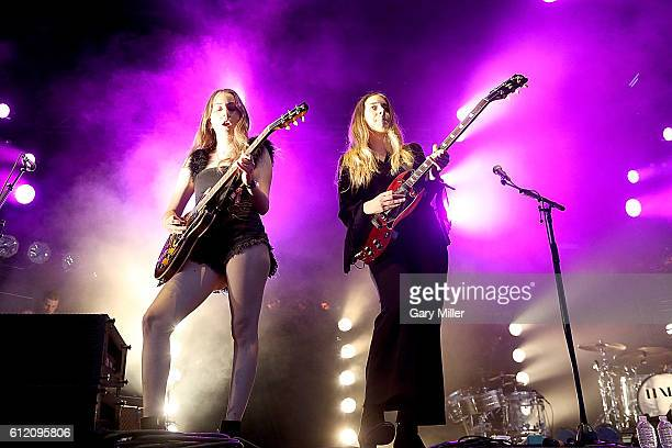 October 02: Alana Haim and Danielle Haim of HAIM perform during the Austin City Limits Music Festival at Zilker Park on October 2, 2016 in Austin,...