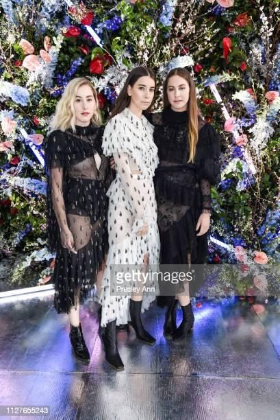 Alana Haim Danielle Haim and Este Haim of HAIM attend Rodarte FW19 Fashion Show at The Huntington Library and Gardens on February 05 2019 in San...