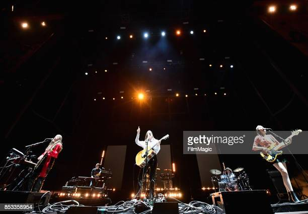 Alana Haim Danielle Haim and Este Haim of HAIM perform on Ambassador Stage during day 3 of the 2017 Life Is Beautiful Festival on September 24 2017...