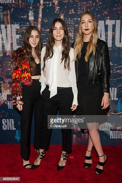 Alana Haim Danielle Haim and Este Haim of the band HAIM attend the SNL 40th Anniversary Celebration at Rockefeller Plaza on February 15 2015 in New...