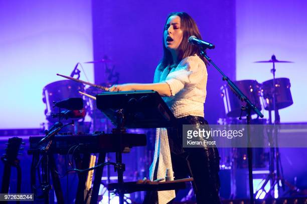 Danielle Haim of Haim performs at the Olympia Theatre on June 12 2018 in Dublin Ireland