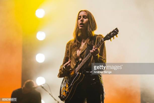 Alana Haim of Haim performs on the NME/Radio 1 stage during day 1 at Leeds Festival at Bramhall Park on August 25 2017 in Leeds England