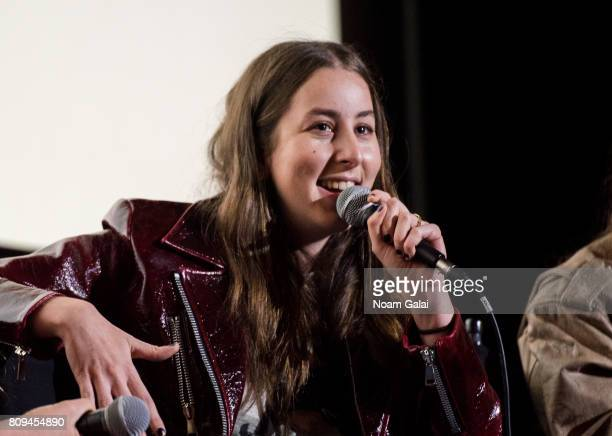 Alana Haim of HAIM speaks during a pop up screening of Paul Thomas Anderson's 'Valentine' at Alamo Drafthouse Cinema on July 5 2017 in the Brooklyn...