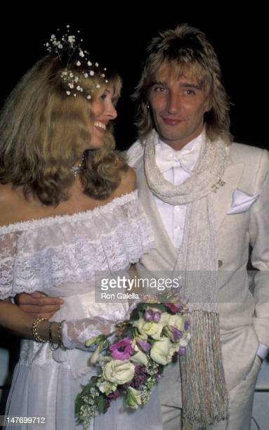 Alana Hamilton and Rod Stewart attend Rod StewartAlana Hamilton Wedding Reception on April 6 1979 at the L'Eermitage Restaurant in Beverly Hills...