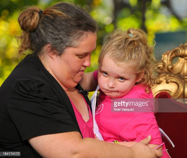 Alana 'Honey Boo Boo' Thompson and her mother June Shannon visit Extra at The Grove on October 15 2012 in Los Angeles California