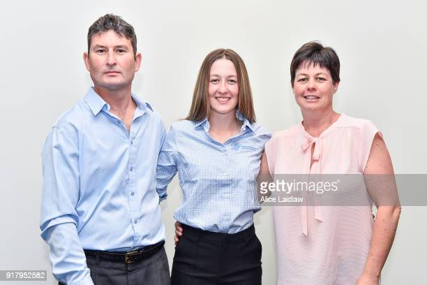Alana Kelly with her parents Daniel and Michelle Kelly at the Apprentice Jockeys Induction at Racing Victoria on February 14 2018 in Flemington...